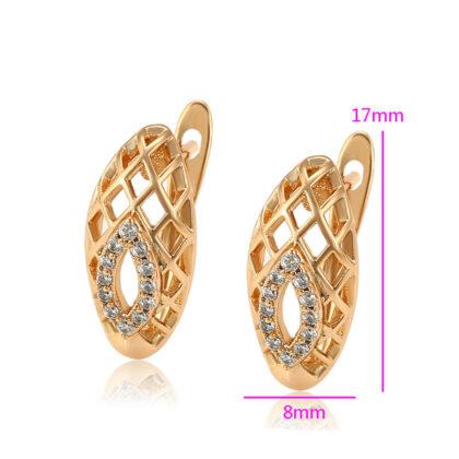 Cercei eleganti placati aur cristale zirconiu detalii