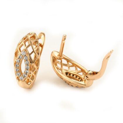 Cercei eleganti placati aur cristale zirconiu profil