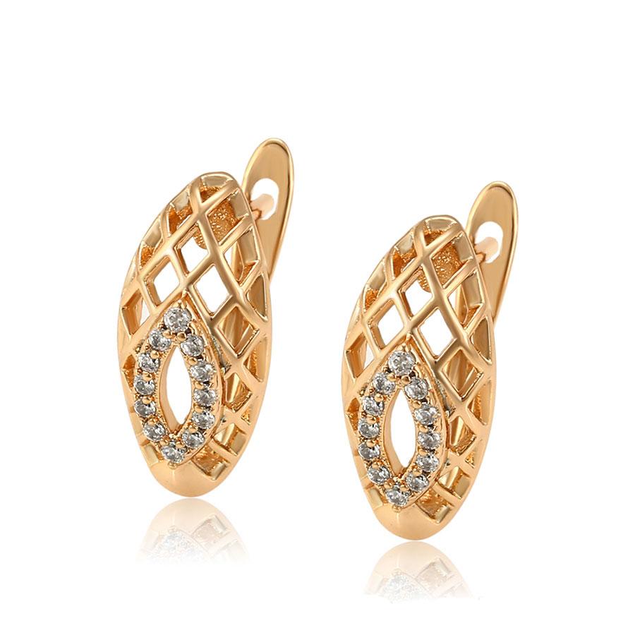 Cercei eleganti placati aur cristale zirconiu