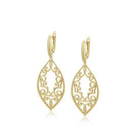 Cercei eleganti placati aur frunzulita