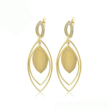 Cercei eleganti placati aur zirconiu