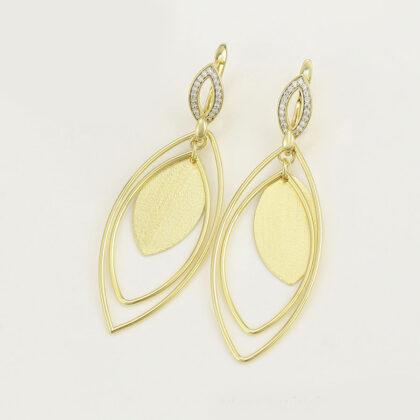Cercei eleganti placati aur zirconiu fata
