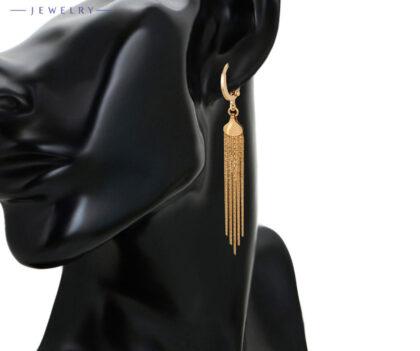 Cercei lungi dama placati aur 18K model