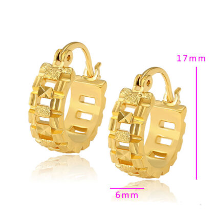 Cercei mici eleganti placati aur 24K detalii