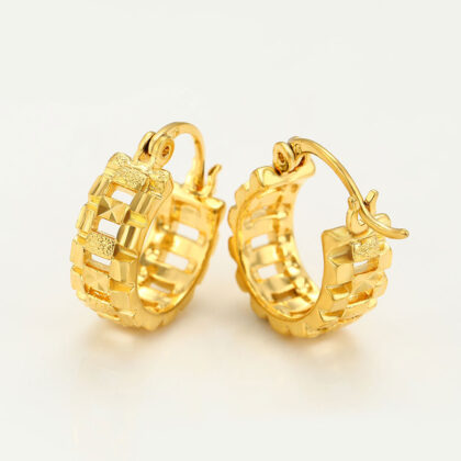 Cercei mici eleganti placati aur 24K profil
