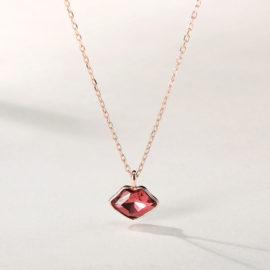 Lantisor argint 925 cristal rosu placat aur