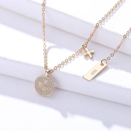 Lantisor argint 925 pandantiv cruce placat aur