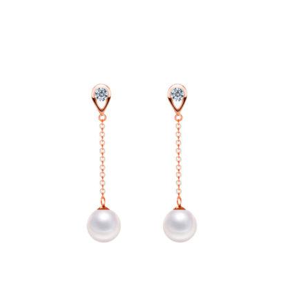 Set argint 925 colier si cercei perle placat aur cercei