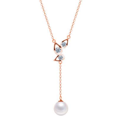 Set argint 925 colier si cercei perle placat aur colier