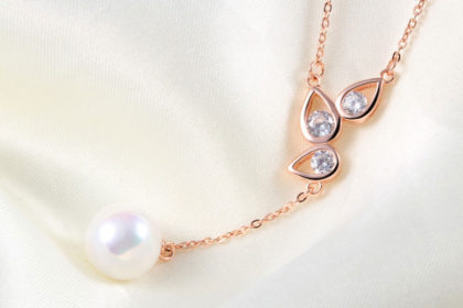 Set argint 925 colier si cercei perle placat aur fata