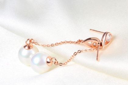 Set argint 925 colier si cercei perle placat aur sus