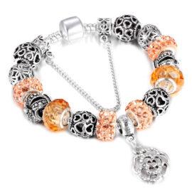 Bratara charm floricica cristale portocalii