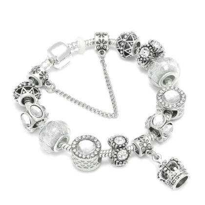 Bratara charm pandantiv coroana cristale albe