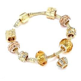Bratara charm pandantiv coroana cristale aurii