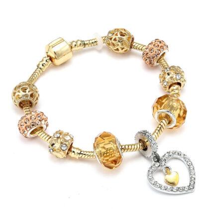 Bratara charm pandantiv inimioara cristale aurii