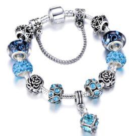 Bratara deosebita charm cristale albastre