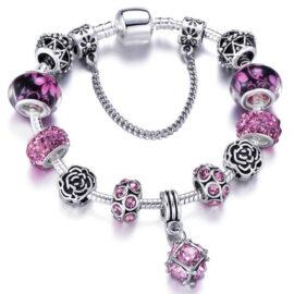 Bratara deosebita charm cristale roz