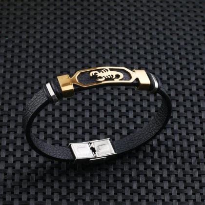 Bratara piele amuleta scorpion auriu