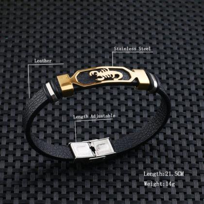 Bratara piele amuleta scorpion auriu dmensiuni