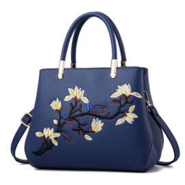 Geanta eleganta albastra imprimeu floral