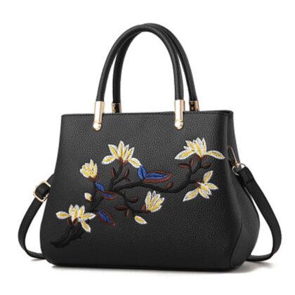 Geanta eleganta neagra imprimeu floral
