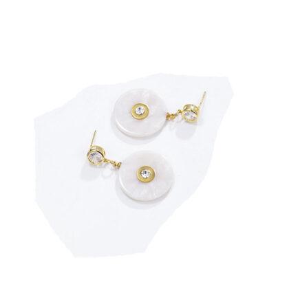 Cercei cristale albi placati aur sus