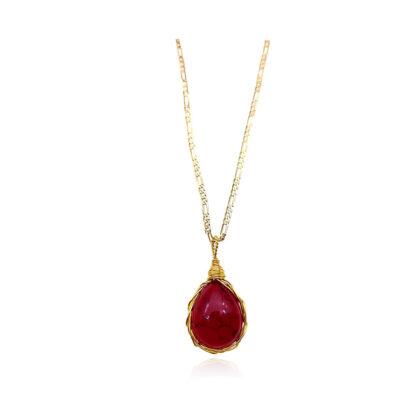 Colier dama placat aur cristal rosu