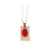 Colier elegant placat aur cristal rosu