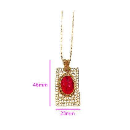 Colier elegant placat aur cristal rosu detalii