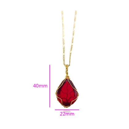 Colier elegant placat aur cristal rosu dimensiuni