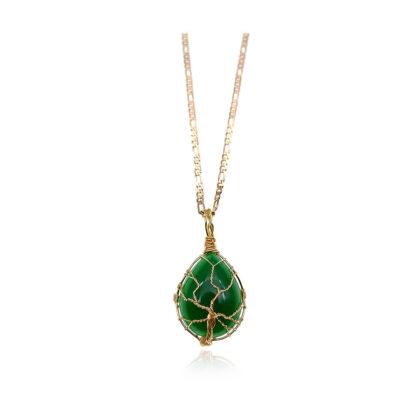 Colier elegant placat aur cristal verde