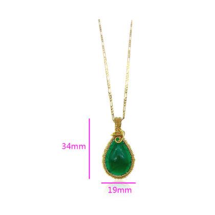 Colier elegant placat aur cristal verde detalii