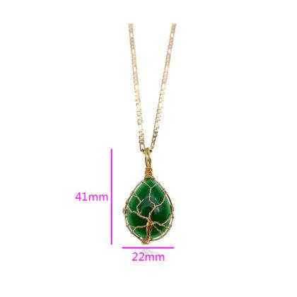 Colier elegant placat aur cristal verde dimensiuni