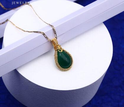 Colier elegant placat aur cristal verde fata