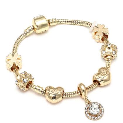 Bratara dama charm placata aur cristale