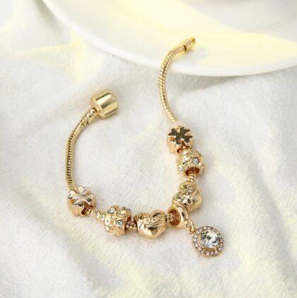 Bratara dama charm placata aur cristale sus