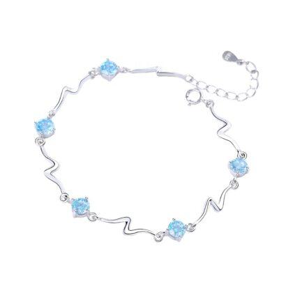 Bratara eleganta zirconiu albastru argint 925