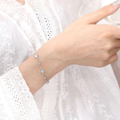 Bratara eleganta zirconiu albastru argint 925 mana