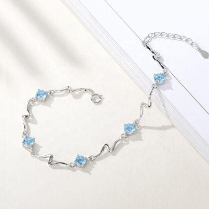 Bratara eleganta zirconiu albastru argint 925 sus