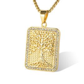 Lant pandantiv copacul vietii placat aur