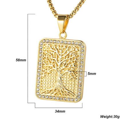 Lant pandantiv copacul vietii placat aur detalii