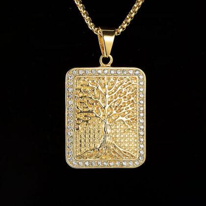 Lant pandantiv copacul vietii placat aur fata