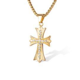 Lant pandantiv cruce placat aur zirconiu