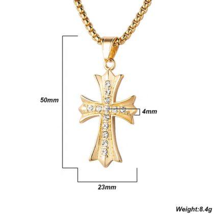 Lant pandantiv cruce placat aur zirconiu detalii