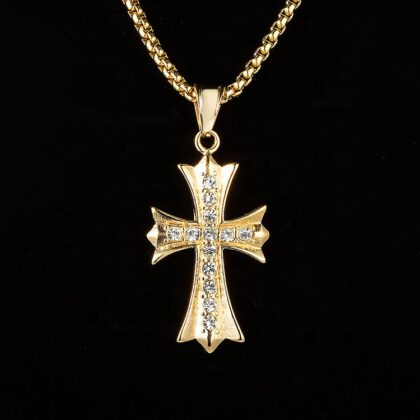 Lant pandantiv cruce placat aur zirconiu fata