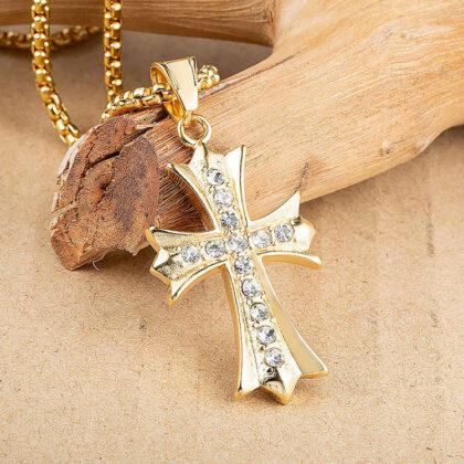 Lant pandantiv cruce placat aur zirconiu sus