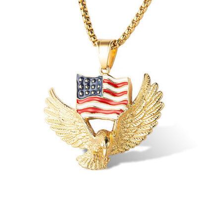 Lant pandantiv steagul american placat aur