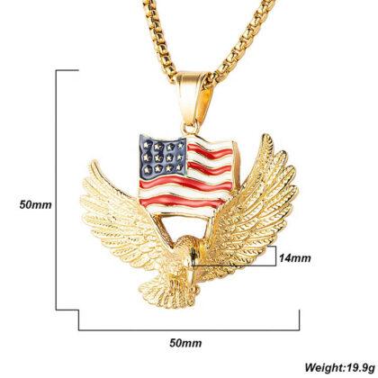 Lant pandantiv steagul american placat aur detalii