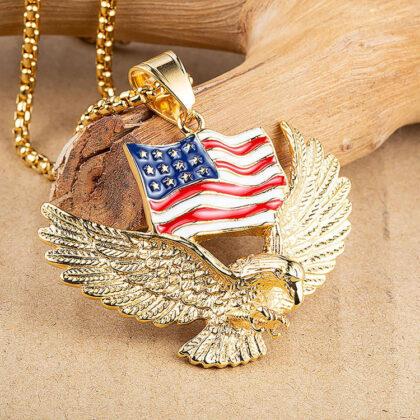Lant pandantiv steagul american placat aur sus