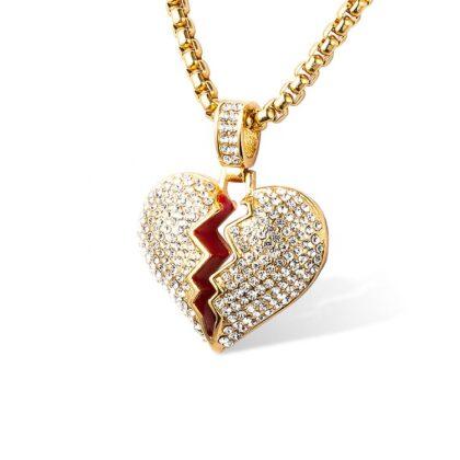 Lant placat aur inimioara zirconiu
